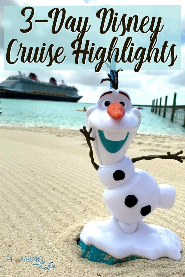 Olaf smoothie cup in sand on Castaway Cay with Disney Dream in background