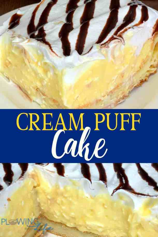 collage of cream puff cake images with text