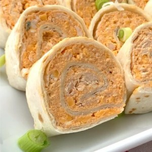 2 inch thick buffalo chicken wrap made in flour tortillas
