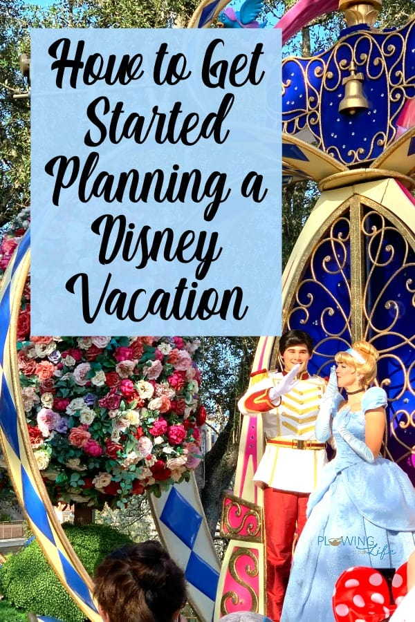 Prince Charming and Cinderella in Walt Disney World, Magic Kingdom parade with text How to Get Started Planning a Disney Vacation
