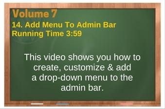 PLR 4 WordPress Vol 7 Video 14 Add Drop-Down Menu To Admin Bar