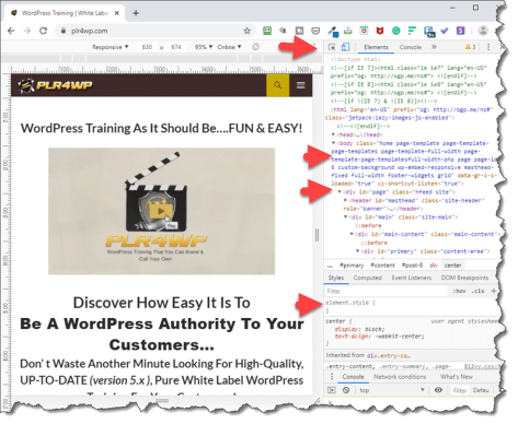 PLR for WordPress image on using Inspect Element with WordPress Customizer to help customize a WordPress site, page or post