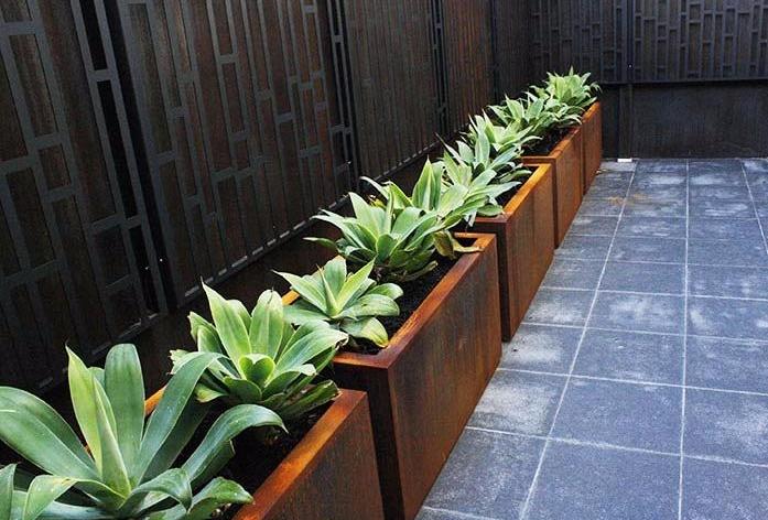 Corten steel planters