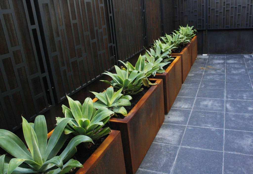 Custom made corten steel planters by PLR Design
