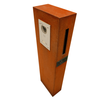 Corten fabricated letterbox with doorbell by PLR Design