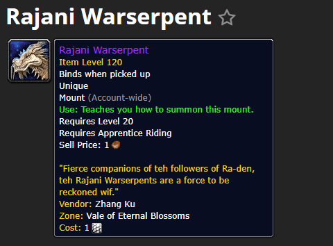 魔兽世界坐骑:莱加尼战争翔龙Rajani Warserpent@PLS173.com