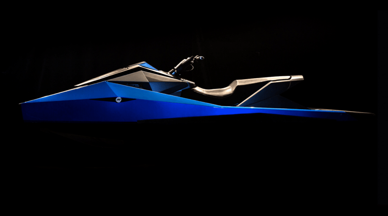 A very sleek low silhouette electric jetski