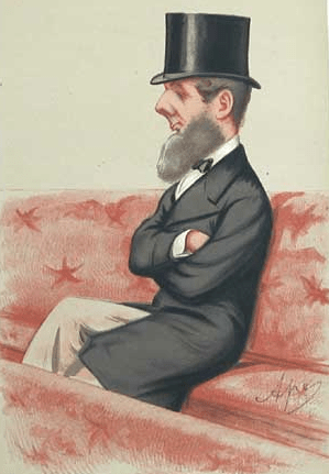 An sktech from the late 19th century of a British Lord with top hat and beard