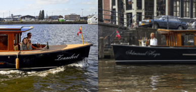 electric canal boat in Amsterdam