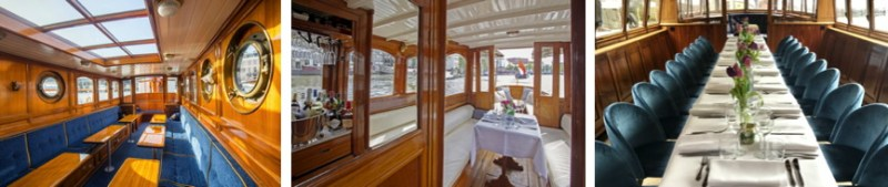 electrified canal boats have luxurious interiors for dining and parties
