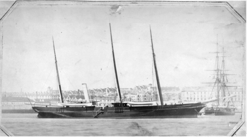 A 19th century sailing ship with 3 masts