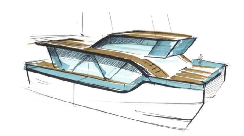 A sketch of the design of a two story catamaran arctic ecotour boat