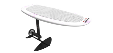 a wakeboard with a hydrofoil and electric motor attached underneath