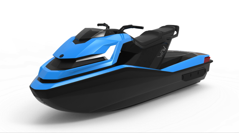 a blue jetski against a white background