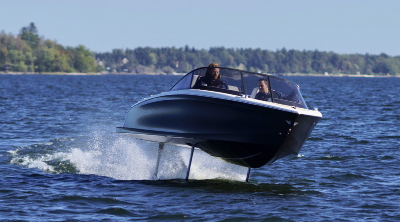electric hydrofoil boat 'flies' above the water on its hydrofoils
