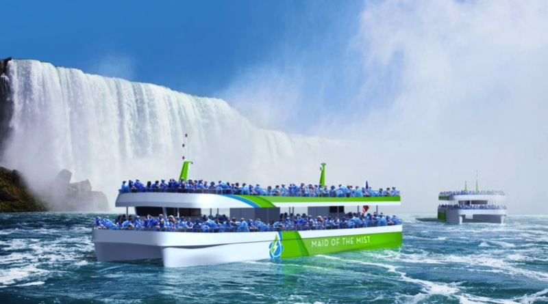 An artists version of an electric ferry with visitors aboard at the bottom of Niagara Falls