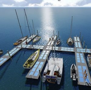 A marina with 12 docks, all have solar panels inlaid onto the dock surface
