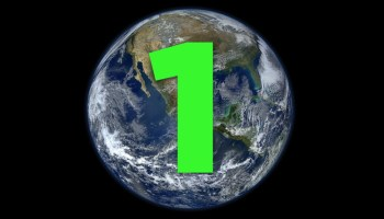 a photo of the earth from outer space with a big green numeral one one it