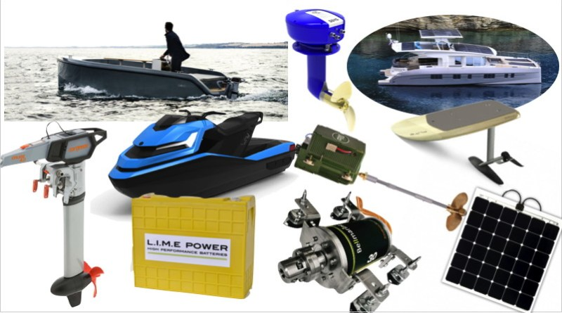 photos of electric boats, motors, batteries, chargers, etc.