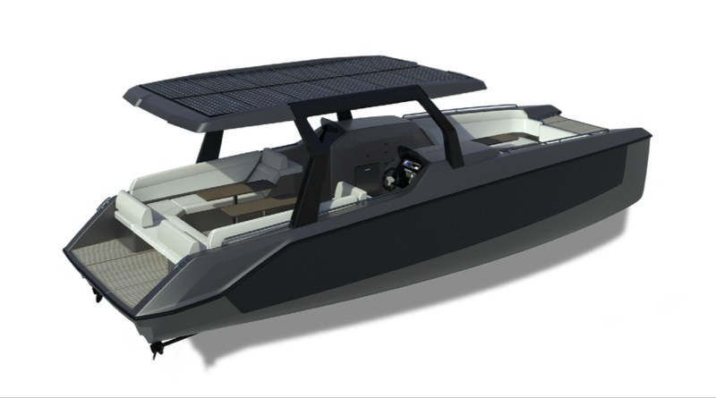 artists rendition of a 31 foot electric catamaran