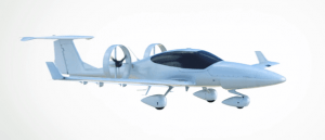 a small aircraft with electric powered rotors instead of propellers