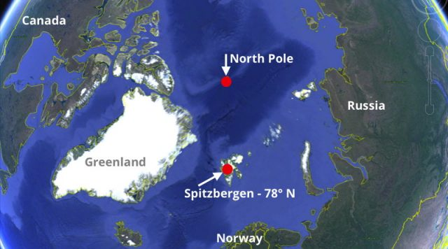 map of arctic showing Spitzbergen where the Energy Observer renewable energy ship is moored