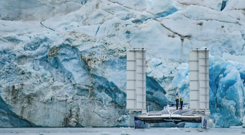 A huge solar and hydrogen powered ship is dwarfed by the Arctic ice-scape