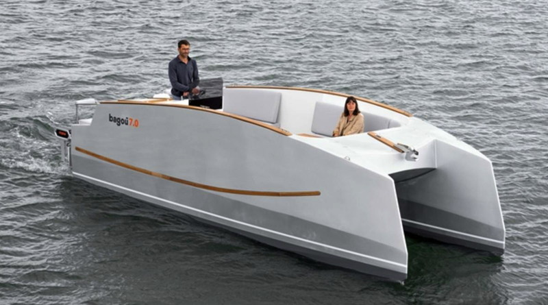 an electric catamaran with very high pntoons and walls of the interior