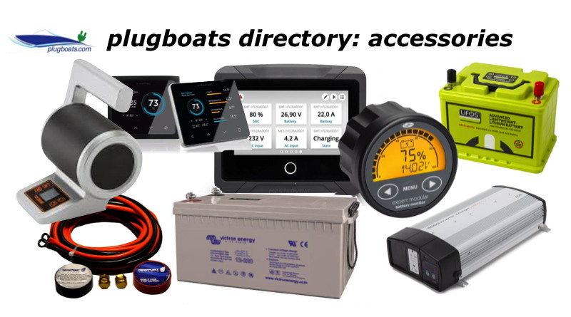 A variety of batteries and accessories for electric boats