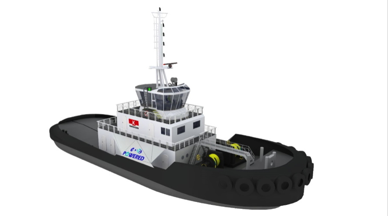 Artists drawing of a large battery hydrogen powered tugboat