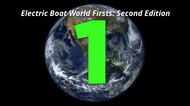 electric boat world firsts symbol - the number 1 superimposed over a photo of the earth