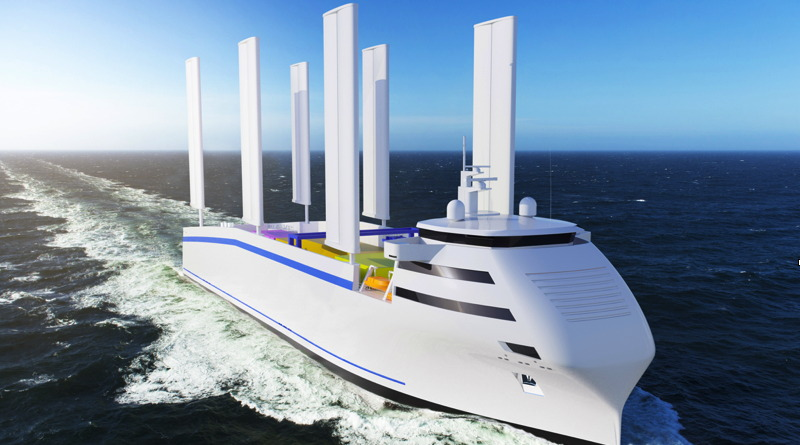 artists rendition of a large cargo ship with 6 rigid wing sails standing up about 100m above the deck