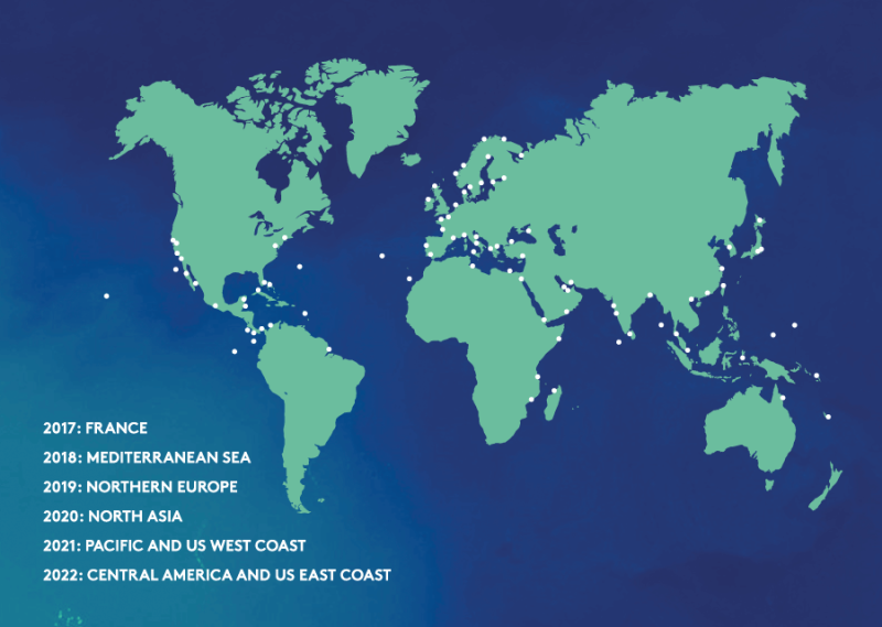 a map of the world showing the stops and dates of Energy Observer zero emission ship's round the world odyssey