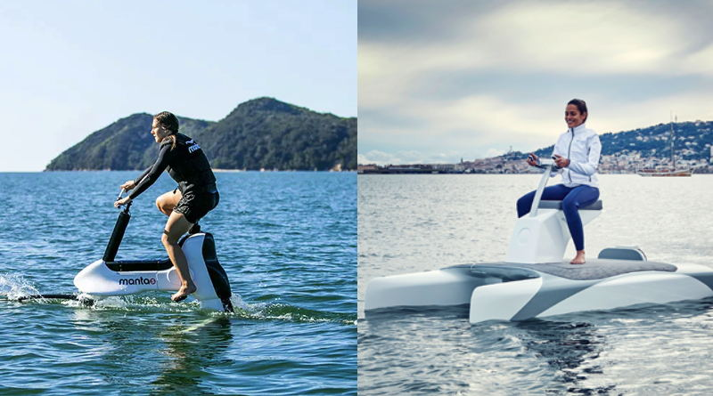sisde by side photographs of people riding different water bicycles, each with pontoons