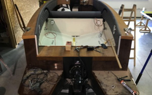 stern of Palena boat showing Mercruiser ready for electric installation