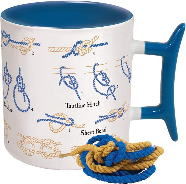 gift for electric boaters - mug with diagrams of how to tie knots on it