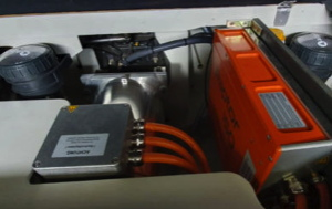 AQAForce controller and electric motor for MerCruisers sitting in the engine cavity