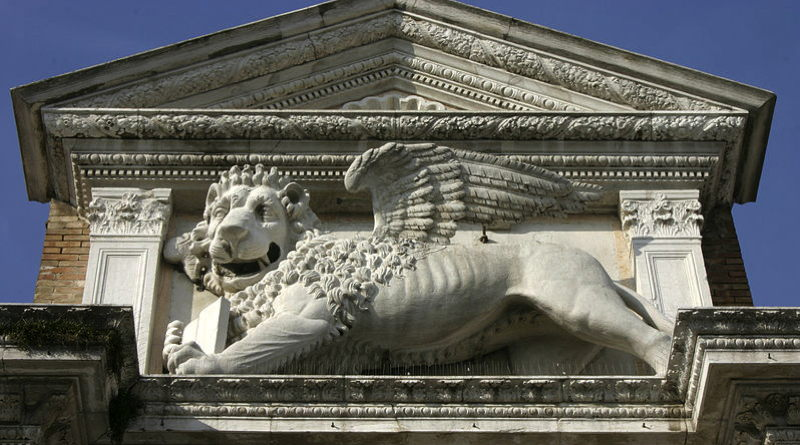 Lion at gate of Arseanle, home of 1st Venice e-Regata electric boat regatta