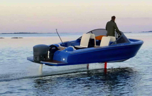 Electric powerboat hydrofoiling