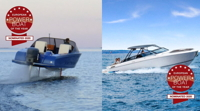 The Candela hydrofoiling speedboat and Greenline electric yacht with the emblems of the Powerboat Awards