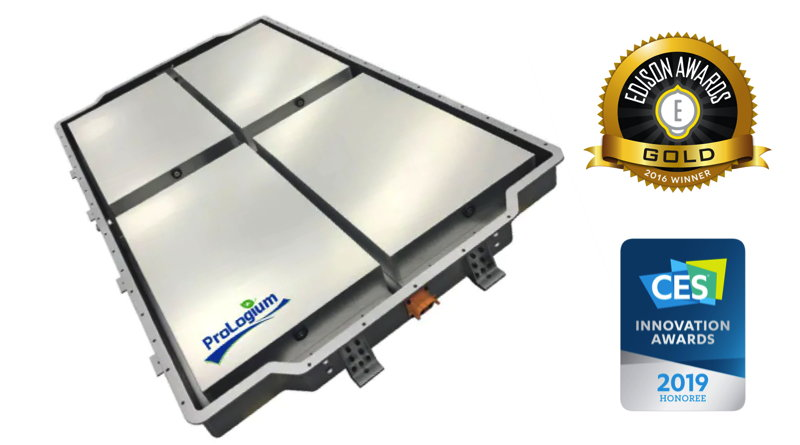 Thin battery that is lighter than others with Edison Award and CES Awards beside it