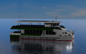 electric ferry news photo shows an artist's conception of the ferry for Malta