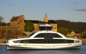 electric ferry news photos shows electric ferry in Oslo harbour