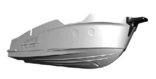 Powerboat of the year electric boat super displacement hull from below water