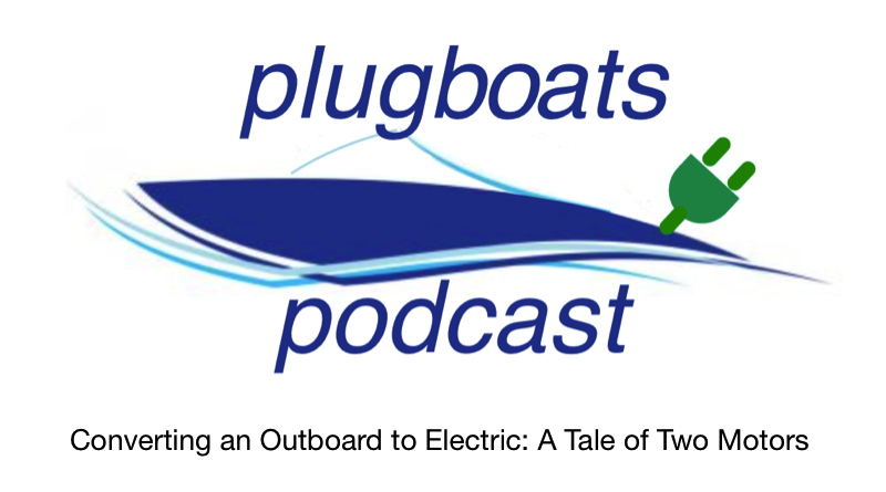 Converting Outboard to Electric - Plugboats logo of boat with plug where the outboard motor usually is