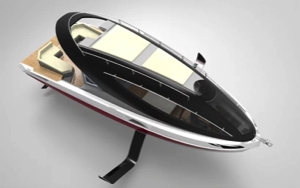 electric foiling boat - yacht with couple on lounge chairs on roof