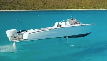 Canela electric flying boat hydrofoiling 1 metre above the water off British Virgin Islands