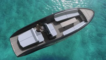 Rand electric boats Mana 23 day cruiser seen from above