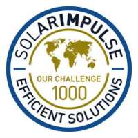 solar electric boat receive this labels with map of the globe saying it is one of the 1000 Solar Impulse solutions