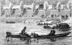 Woodcut of Trouve's 1st electric boat in honour of the electric boat awards